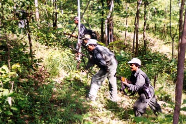 Naxalites in a Chhattisgarh jungle. The Naxal trouble in the state began in the mid 1980s.