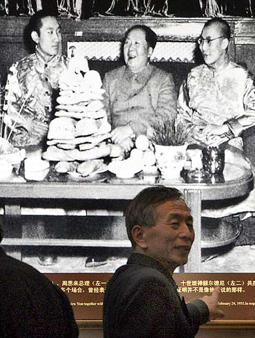 A 1955 photograph of Mao Zedong with the Dalai Lama and the Panchen Erdeni in Beijing