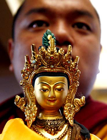 A Buddhist monk during prayers for the Dalai Lama in Mcleodgunj, Himachal Pradesh