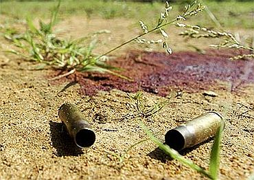 Spent cartridges near Lahiri police station, where policemen were killed in a Maoist attack in Gadchiroli district, in Maharashtra, October 9, 2009