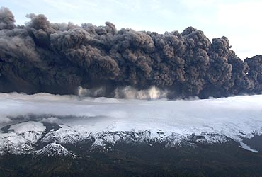 A plume of volcanic ash rises six to 11 km into the atmosphere from the Eyjafjallajokull glacier in Iceland on April 14