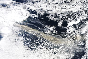 A plume of ash and steam from the Eyjafjallajokull volcano as captured by NASA