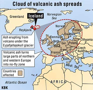 Graphic shows the area affected by the volcanic ash