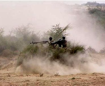 Pakistan troops in action