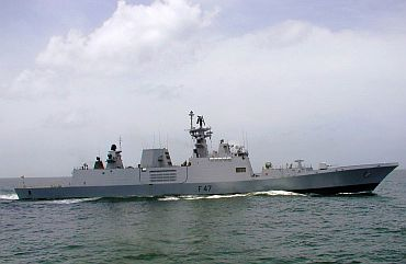Shivalik-class multi-role frigate during sea trials