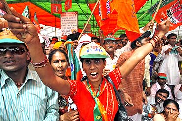 A BJP supporter shouting slogans