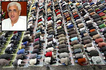 Muslims offer prayers in Shimla. (inset) Salman Khurshid