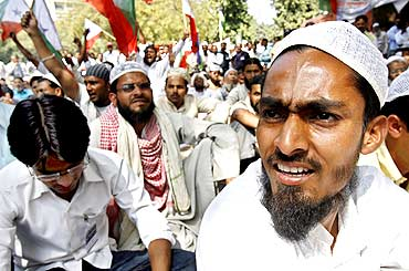 Muslims attend a rally to demand reservation in jobs and education