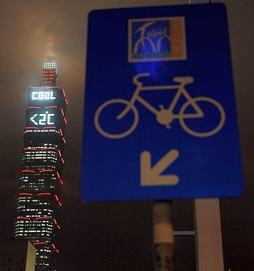 Taipei 101, the world's tallest building, displays an Earth Day message in Taipei