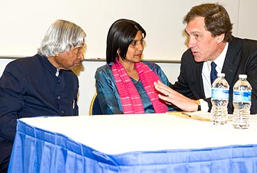 Kalam with professors Deepa Ollapally and Karl Inderfurth, ex-assistant sec for S Asian affairs