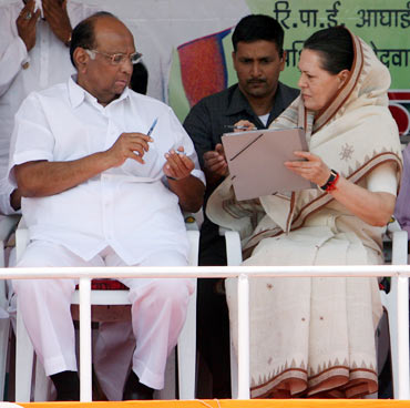 Sonia Gandhi with Sharad Pawar in happier times