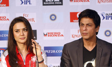 Preity Zinta and Shah Rukh Khan at an IPL press meet