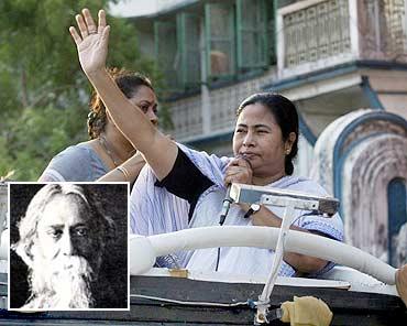 Mamata Banerjee. Inset: Tagore
