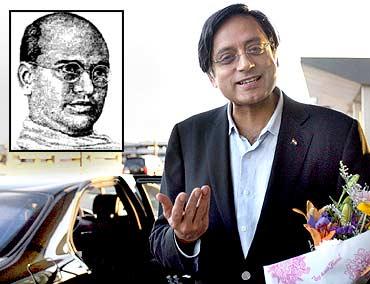 Tharoor. Inset: Vallathol