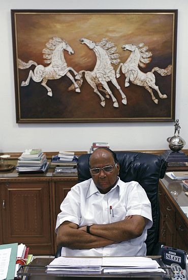 Sharad Pawar in his office
