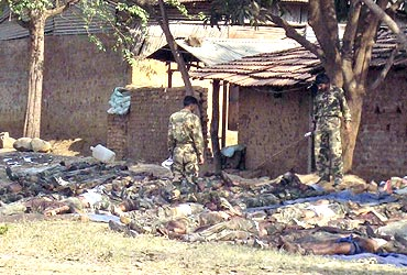 The bodies of CRPF personnel killed in the Dantewada massacre