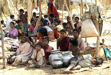 A group of tribals, displaced by Maoist violence, at a camp in Dornapal in Chhattisgarh