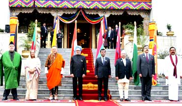 The heads of state of the SAARC nations at Thimphu