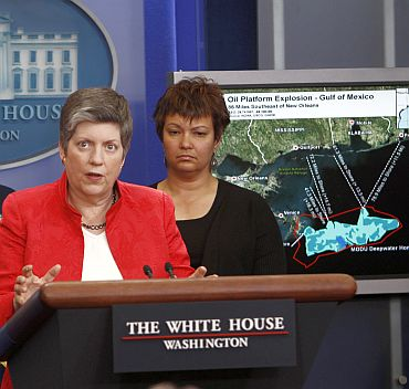 Janet Napolitano, secretary of the Department of Homeland Security, speaks about the response to the massive oil slick in the Gulf of Mexico, at the White House
