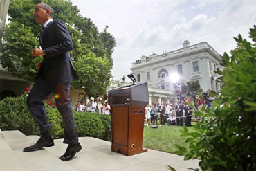 US President Barack Obama leaves a press meet on the leaked Afghan war documents