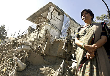 A file photo of Foreign Secretary Nirupama Rao at the Indian Embassy in Kabul a day after a blast
