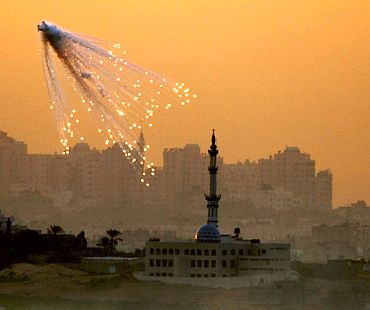 A shell bursts during Israel's attack on Gaza, 2009