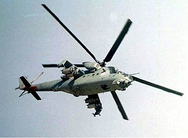 An Indian Air Force Mi-35 on a sortie