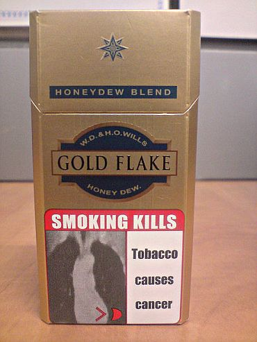 A pictoral warning on a cigarette packet