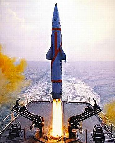 India's nuclear-capable ballistic missile 'Dhanush', with a range of 350 km, being test-fired from a naval ship off the Orissa coast