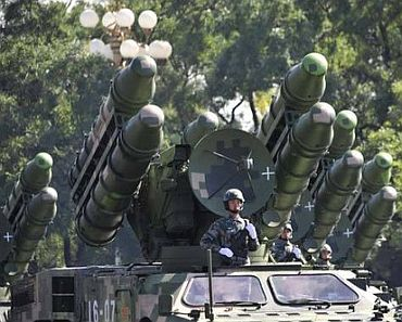 Chinese long range missile on display during a military parade