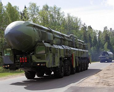A Russian strategic nuclear missile on its way for inspection by President Medvedev at the Teikovo Strategic Missile base in Russia's Ivanovo region