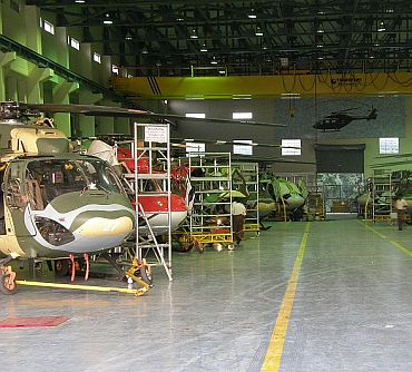 Dhruv production line at Hindustan Aeronautics Limited, Bangalore