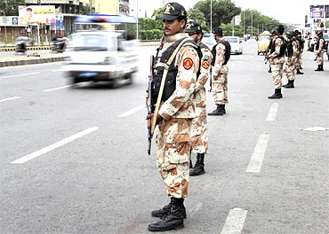 Rangers stand guard on high alert in Karachi