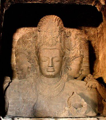 The Trimurti monument inside Elephanta caves