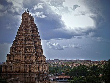 The Viruparaksha Temple tower as seen from Hemakunta Complex