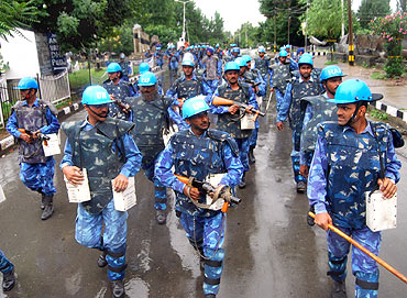 Calm in Kashmir, RAF does flag march