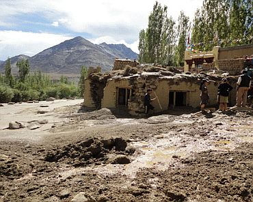 Flash flood ravages Ladakh