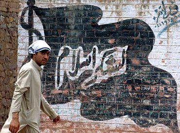 A flag of the Khyber-based Lashkar-e-Islam painted on a wall in Bara town in Pakistan's Federally Administered Tribal Areas