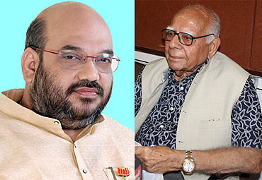 Amit Shah (left) and Ram Jethmalani