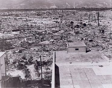 Photo taken from the top of the Red Cross Hospital in Hiroshima looking northwest shows the destruction