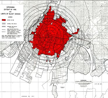Map of Blast and Fire Damage to Hiroshima