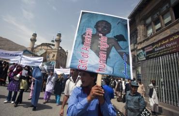 An anti-US rally in Kabul