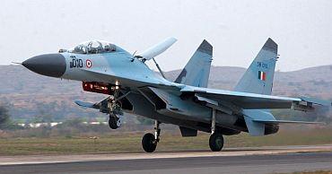 A Sukhoi-30MK lands at an airbase