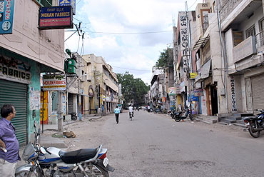 Bellary streets were deserted on Monday