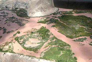 An aerial view of the flood-affected areas of Leh