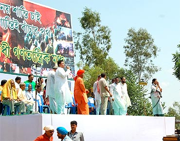 Mamata Banerjee (far right) at the Lalgarh rally