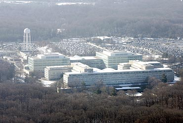 An aerial view of the US Central Intelligence Agency (CIA) headquarters in Langley, Virginia