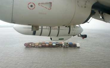 Containers being recovered from the sea