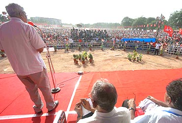 CPI-M General Secretary Prakash Karat addresses a public meeting in Vijayawada