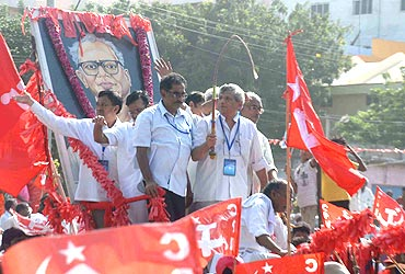 CPI-M Politburo member Sitaram Yechury at the Vijayawada rally